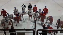 První trénink české hokejové reprezentace v Soulu