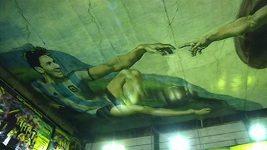 Maradona jako Bůh, Messi jako Adam: Strop tělocvičny připomíná malbu v Sixtýnské kapli