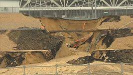 Silný déšť zničil stadión ve Volgogradu