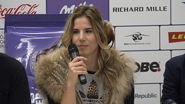 Ester Ledecká na tiskové konferenci.