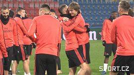 Trenink Realu Madrid v Plzni. Rozesmátý Sergio Ramos a spol.