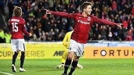 Sparťan Michal Sáček si proti Plzni připsal svůj první ligový gól