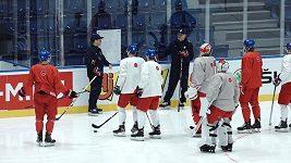 Čeští hokejisté se chystají na Rusy. S týmem už není Robin Hanzl.