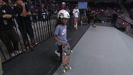 Jedenáctiletá skateboardistka Rayssa Lealová ovládla závod v Los Angeles.