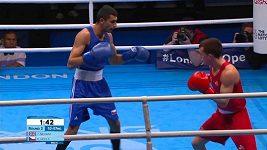 Kevin Godla (v modrém) ve 2. kole olympijské kvalifikace nestačil na Brita McGraila