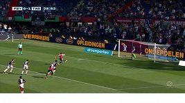 Fotbalista Feyenoordu Berghuis kopal dvě penalty hned po sobě.