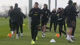 Trénink fotbalistů Leicesteru před odvetou se Slavií